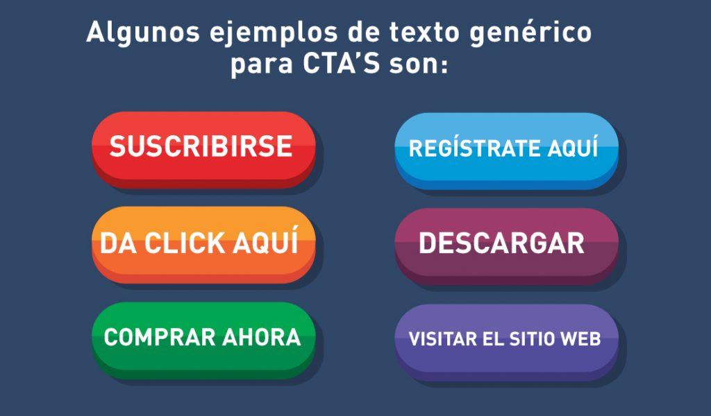 Ejemplos de texto genérico para CTAs